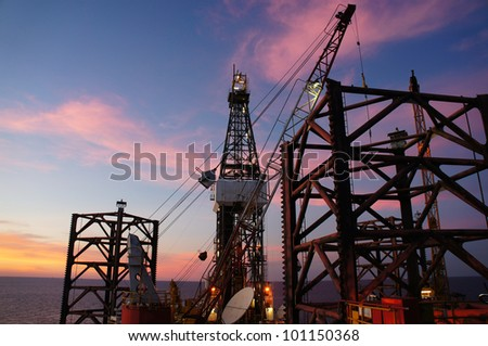 Jack Up Drilling Rig at Twilight Time