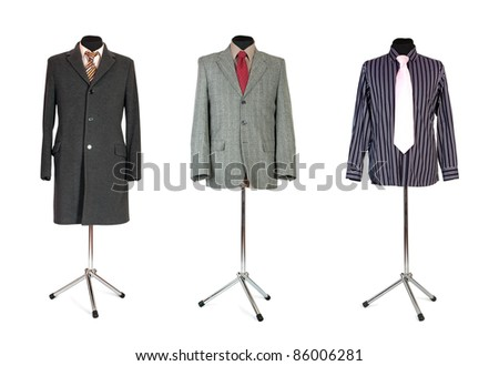 jacket coat and shirt with tie on dummy isolated on white