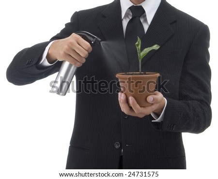 Jacketed and tied business man watering a terracotta vase with green palant