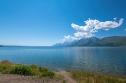 Jackson Lake Overlook in Grand Teton National Park which is located in Wyoming State, USA