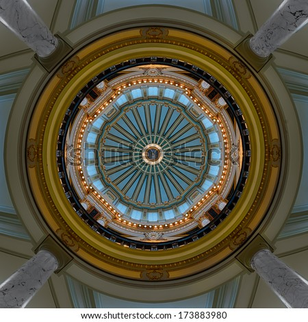 JACKSON, MISSISSIPPI - JANUARY 13: Interior dome from the rotunda of the Mississippi State Capitol building on January 13, 2104 in Jackson, Mississippi