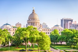 Jackson, Mississippi, USA downtown cityscape at the capitol.