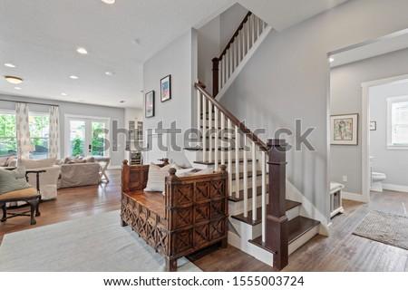 Jacksonville Beach, Florida / USA - November 9 2019: Nice staircase in a luxury home #1555003724