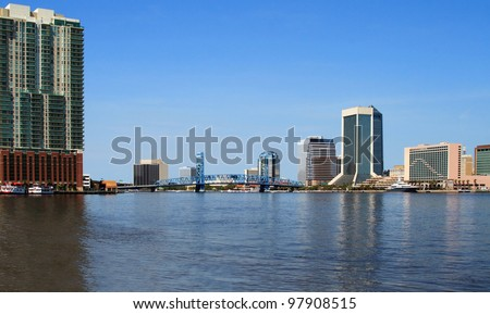 Jacksonville Florida skyline and the St Johns River