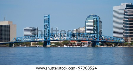 Jacksonville florida skyline and the St Johns River downtown