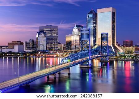 Jacksonville, Florida, USA city skyline on St. Johns River.