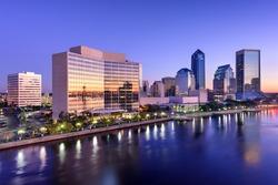 Jacksonville, Florida, USA downtown skyline on St. Johns River.