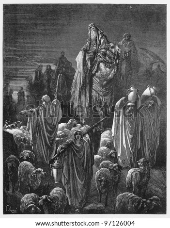 Jacob moved to Egypt - Picture from The Holy Scriptures, Old and New Testaments books collection published in 1885, Stuttgart-Germany. Drawings by Gustave Dore.
