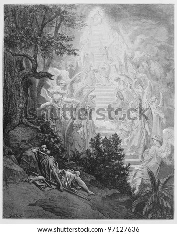 Jacob's dream - Picture from The Holy Scriptures, Old and New Testaments books collection published in 1885, Stuttgart-Germany. Drawings by Gustave Dore.