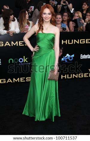 """Jacqueline Emerson at """"The Hunger Games"""" Los Angeles Premiere, Nokia Theater, Los Angeles, CA 03-12-12 - stock photo"""