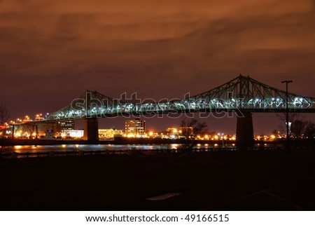 Jacques-Cartier Bridge of Montreal at Night
