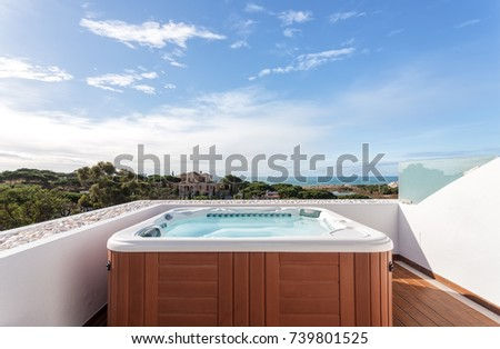 Jacuzzi suite for relaxation on roof. With sea views. Photo stock ©