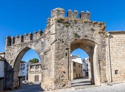Jaen door and Villalar arch in the Plaza del Populo (Plaza del Populo), Baeza. Renaissance city in the province of Jaén. World Heritage. Andalusia, Spain