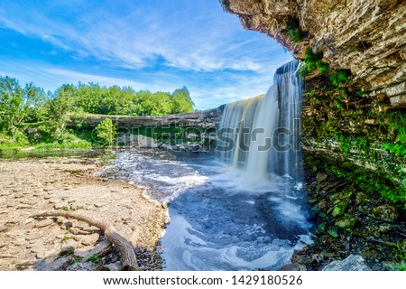 Jagala Waterfall (juga) is waterfall in Northern Estonia on Jagala River. highest natural waterfall in Estonia height 8 meters. Summer sunny day. Jagala-Joa, Joelahtme Parish, Harju County, Estonia