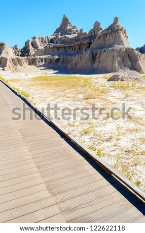 jagged and rounded buttes along the Door Trail at Badlands National Park