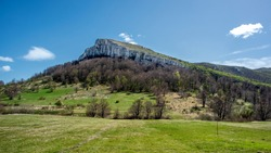 Jagged peak of Stol mountain in eastern Serbia, near the city of Bor