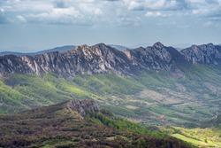 Jagged peaks of Veliki Krs mountain ridge in eastern Serbia, near the city of Bor