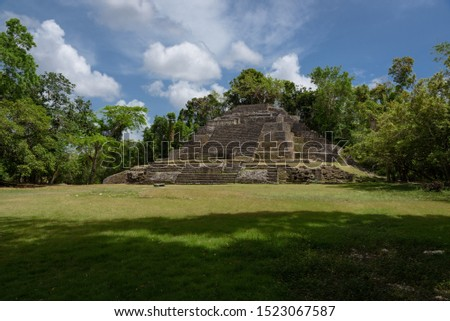 Jaguar Temple at Lamanai Archaeological Reserve, Orange Walk, Belize, Central America.