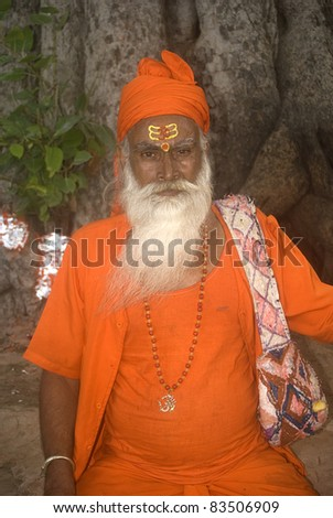 JAIPUR, INDIA - JULY 29 :Sadhu in Rajasthan 29, July 2011. Jaipur, India. Sadhus are Hindi holy men who pilgrimage to holy places in India and Nepal. They live at very harsh conditions.