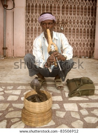 JAIPUR, INDIA - JULY 30 :Snake charmer in Rajasthan 30, July 2011. Jaipur, India. Snake charmers were once performers for the rich, now they show their skill to the tourists. The cobra is harmless.