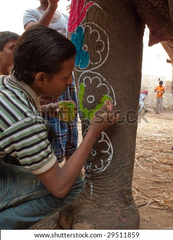 JAIPUR, INDIA - MARCH 10: Artists prepare an elephant for the annual elephant festival and parade by painting the animal with colorful powders on March 10, 2009 in Jaipur, India.