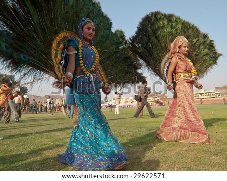 JAIPUR, INDIA - MARCH 10: Dancer in traditional dress for the annual elephant festival on March 10, 2009 in Jaipur, India