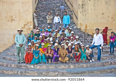 JAIPUR, INDIA - NOVEMBER 12: school class visits the famous Amer Fort on November 12, 2011 in Jaipur, India. Amer Fort, as it stands now, was built during the reign of Raja Man Singh in 1592.