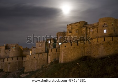 Jaisalmer Fort at night in Rajasthan, India