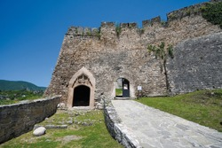Jajce fortress, southwest entrance with the royal Kotromanic coat of arms, Bosnia and Herzegovina