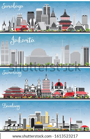 Jakarta, Bandung, Surabaya and Semarang Indonesia City Skylines with Color Buildings and Blue Sky. Business Travel and Tourism Concept with Modern Architecture. Cityscapes with Landmarks.