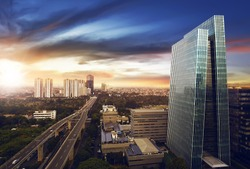 Jakarta city at night with modern building