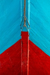 Jakarta / Indonesia - June 10 2018: Red and blue bow of a wooden ship in Jakarta Indonesia