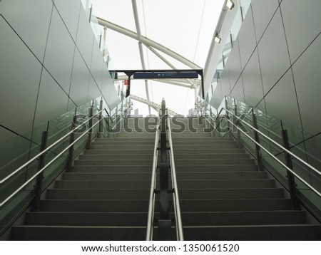 Jakarta, Indonesia - March 23, 2019: The stairway of Fatmawati MRT Station. #1350061520