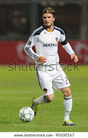 JAKARTA, INDONESIA. - NOVEMBER 30: L.A. Galaxy midfielder David Beckham (No. 23) during match Indonesian Team vs Los Angeles Galaxy at GBK Stadium on November 30, 2011 in Jakarta, Indonesia.