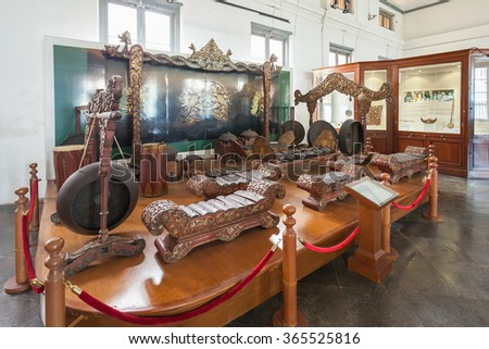 JAKARTA, INDONESIA - OCTOBER 19, 2014: The National Museum of Indonesia interior. #365525816