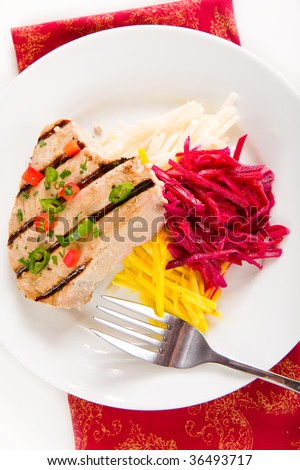 Jalapeno Marinated Grilled Tuna Steak With Beet And Jicama Slaw Stock ...