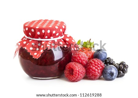 Jam and fresh berries isolated on white