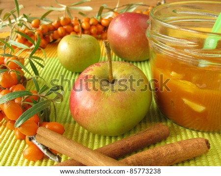Jam from fruits of sea buckthorn, apples and cinnamon