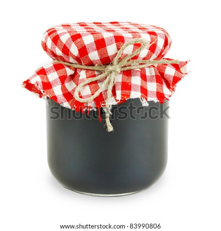 Jam in a jar, isolated over white background.