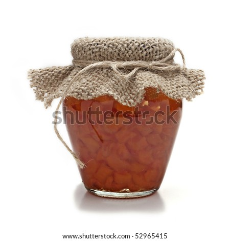 jam in glass jar isolated on white background