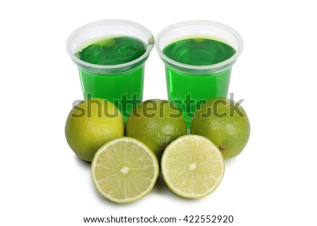 Jam in glass with yellow lemon n white background Foto stock ©