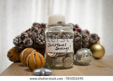Jam jar with coins to illustrate saving for Christmas to illustrate saving for Christmas #785002690