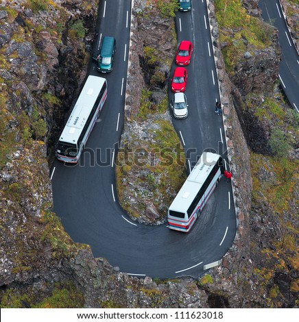 Jam on a mountain road. Due to malfunction of the bus.