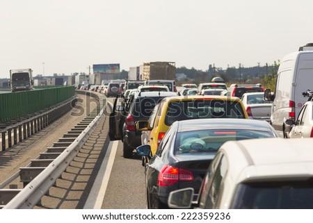 Jam on the highway. Traffic jam in rush hour.