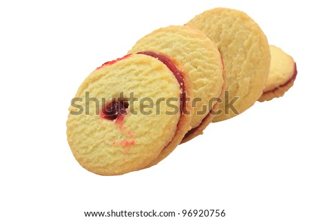 Jam shortbread biscuits isolated on a white background - stock photo