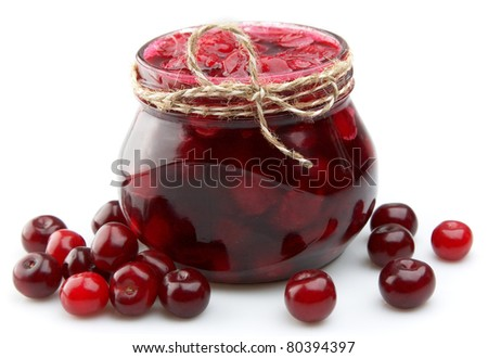 Jam with cherry close up