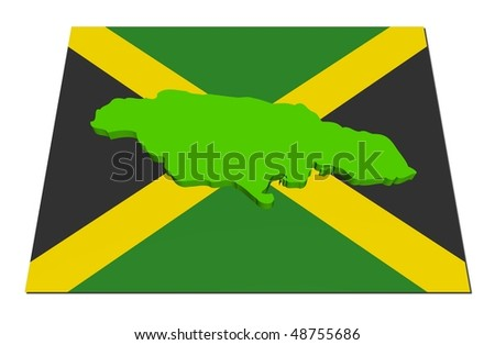 Jamaica 3d render map on their flag illustration