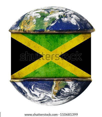 Jamaica earth globe flag. Elements of this image furnished by NASA.