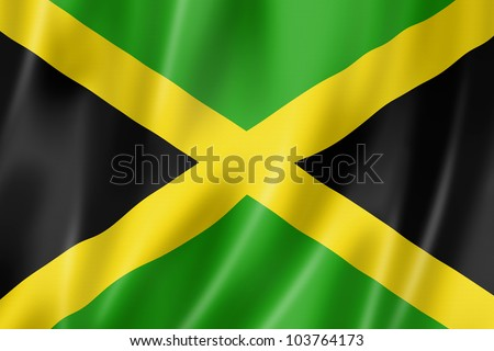 Jamaica flag, three dimensional render, satin texture