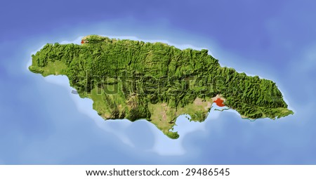 Jamaica. Shaded relief map. Surrounding territory greyed out. Colored according to vegetation. Includes clip path for the state area.